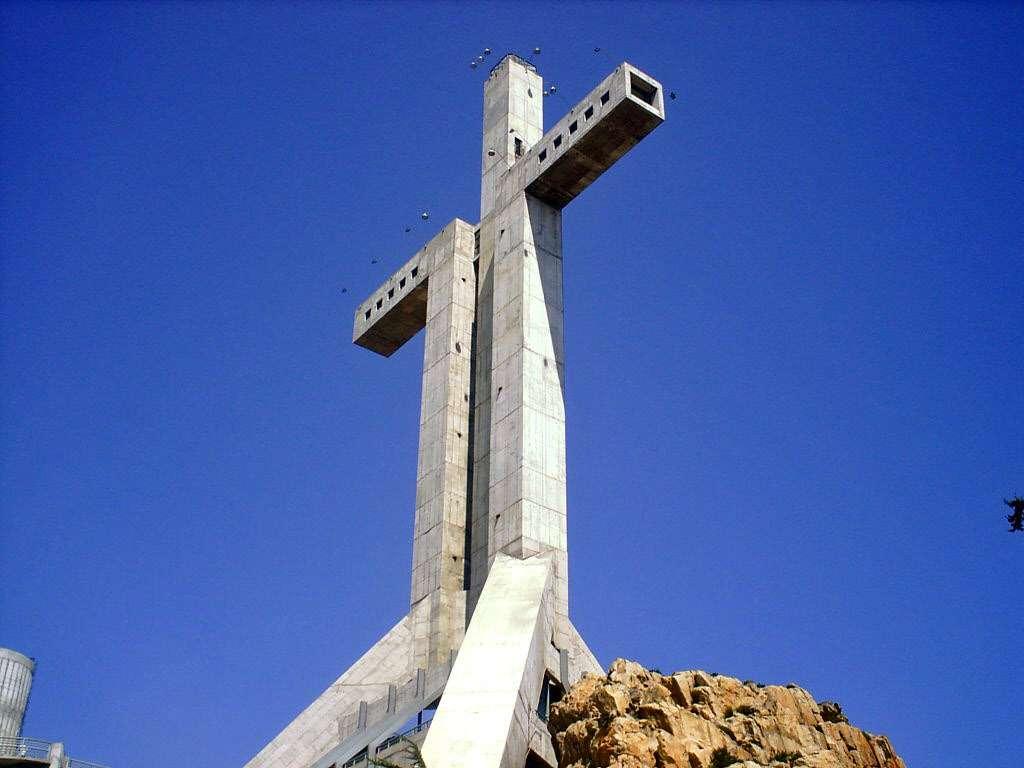 The concrete structure Cruz del Tercer Milenio in Coquimbo, Chile