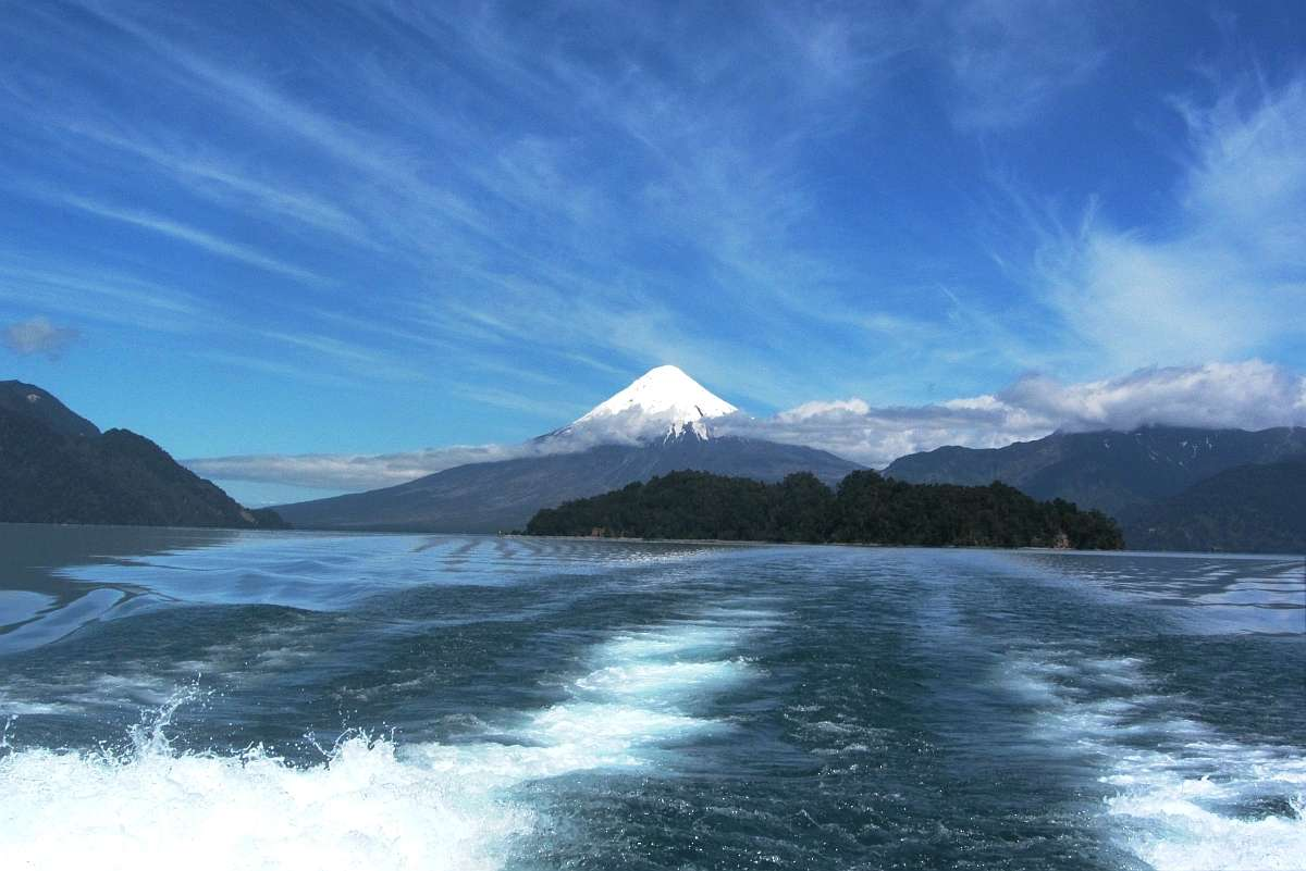 Lake Huapi with the conical Osorno Volcano as back drop.