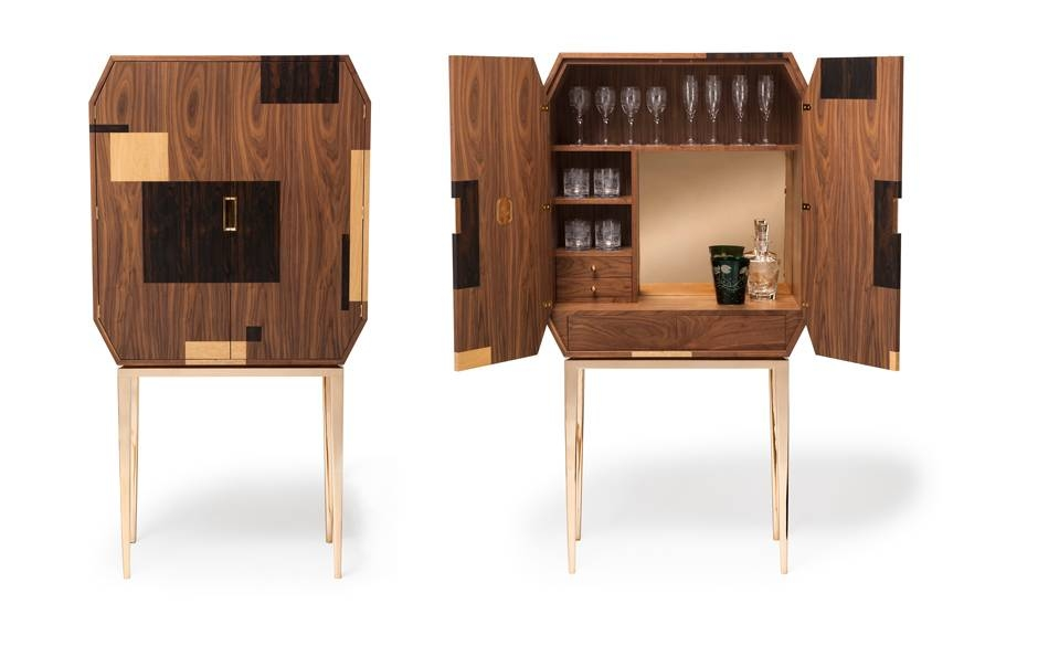 Drinks cabinet with wood inlay doors
