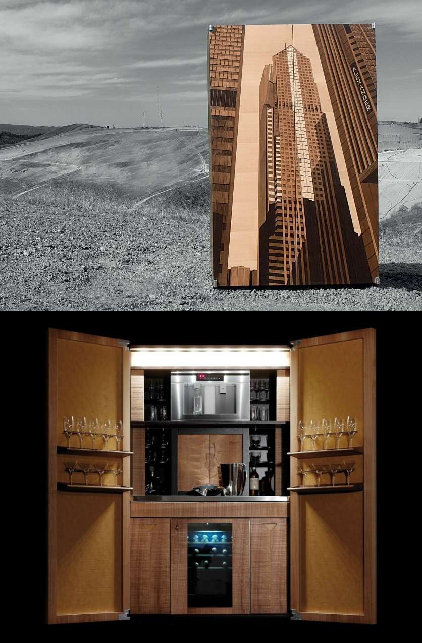 Wood wine cabinet with marquetry of Manhattan skyscrapers design in the doors