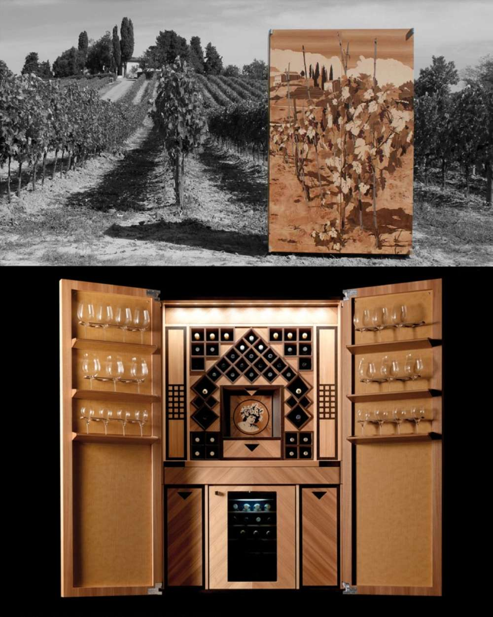 Wood wine cabinet with marquetry of vineyard design in doors
