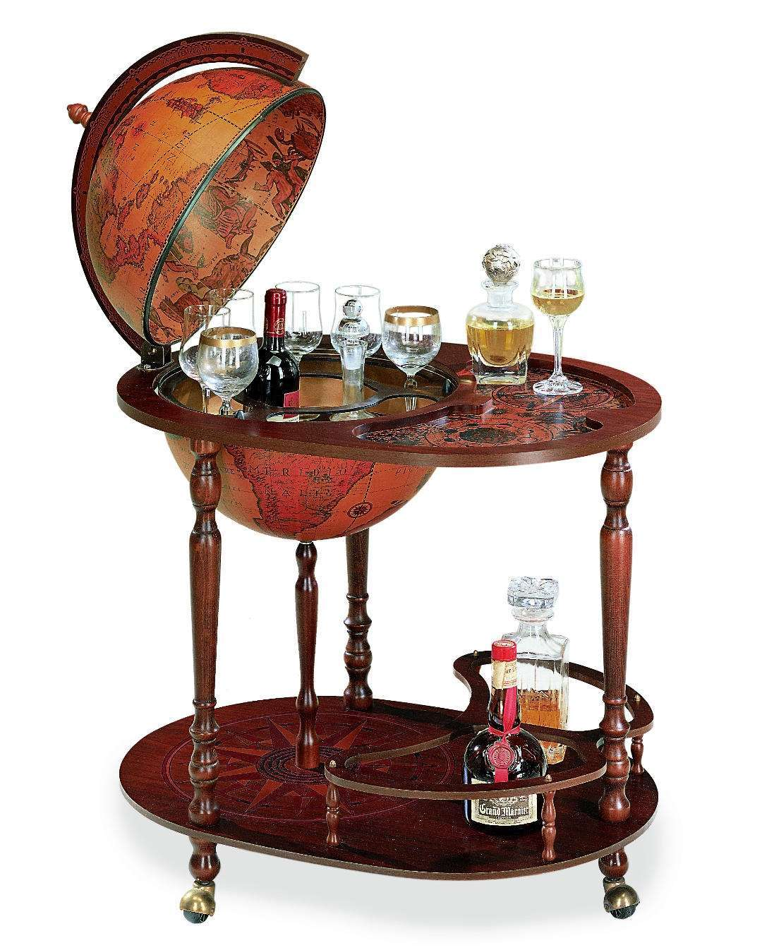 Drinks Trolley with Globe design