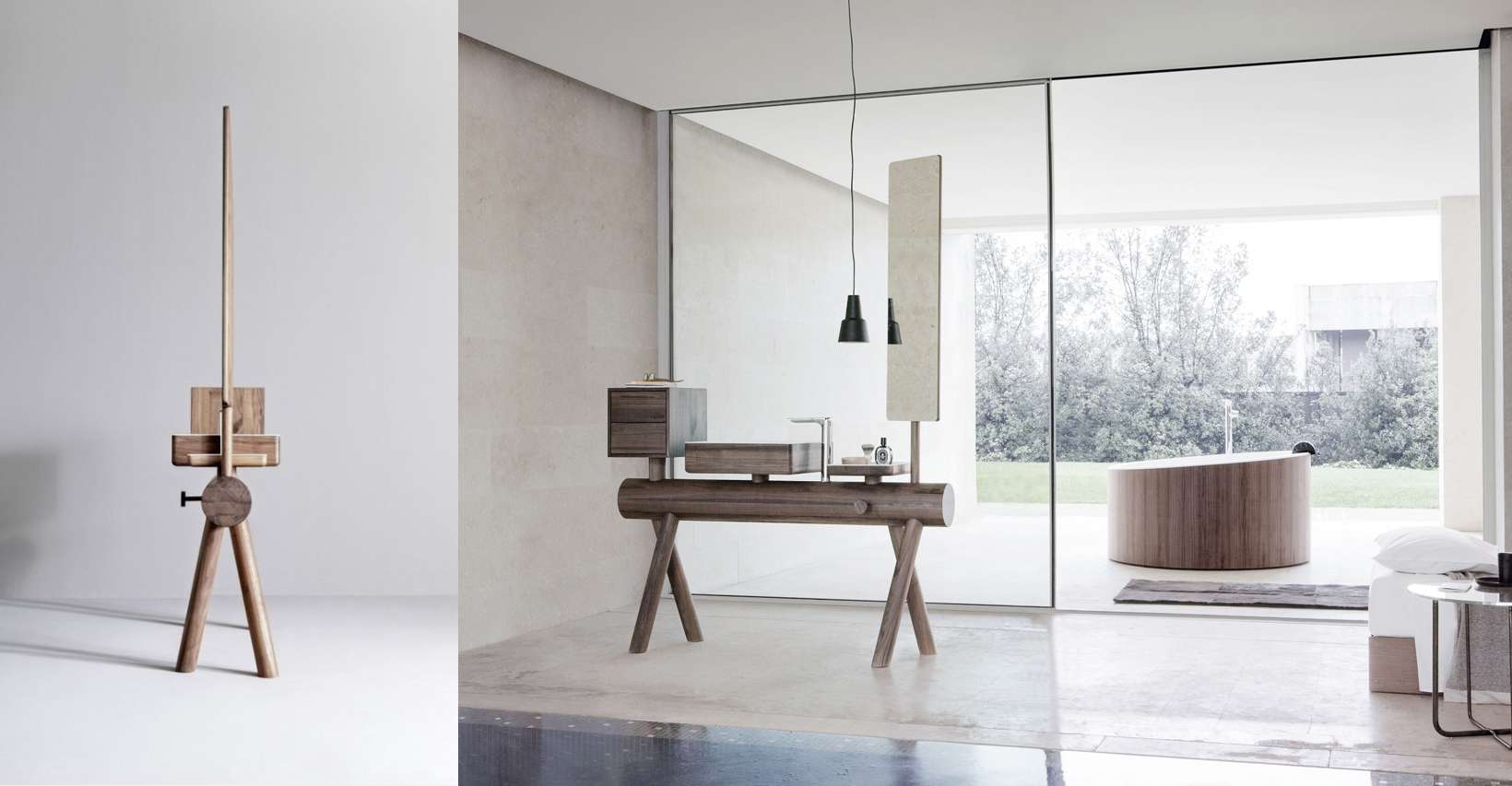 Vanity of wood and corian