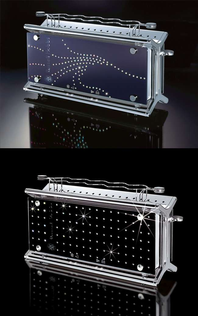 Toasters decorated with Swarovski crystals