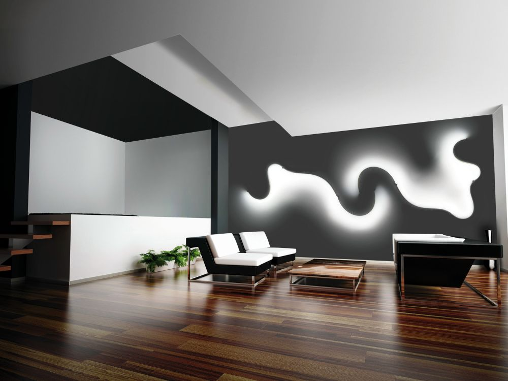 Ribbons of curved LED wall light fixtures