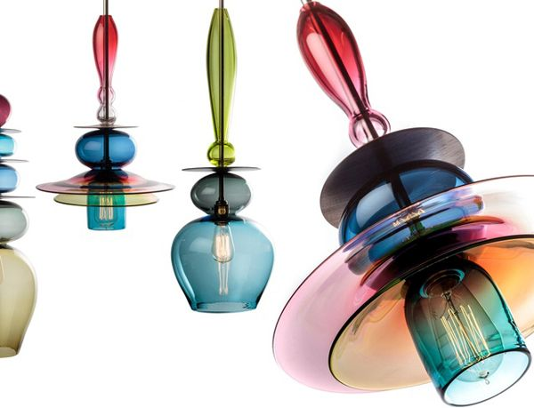 Glass and wood stacked pendant light fixtures
