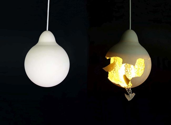 Lighting fixture with broken shell