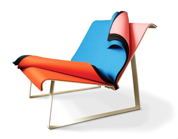 Lounge chair of colorful felt sheets
