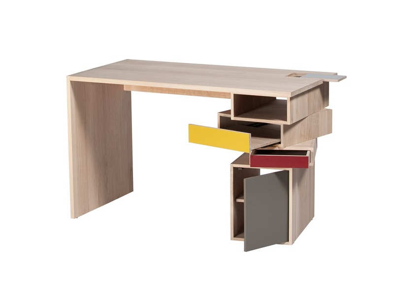 Wood desk with colorful storage pedastal