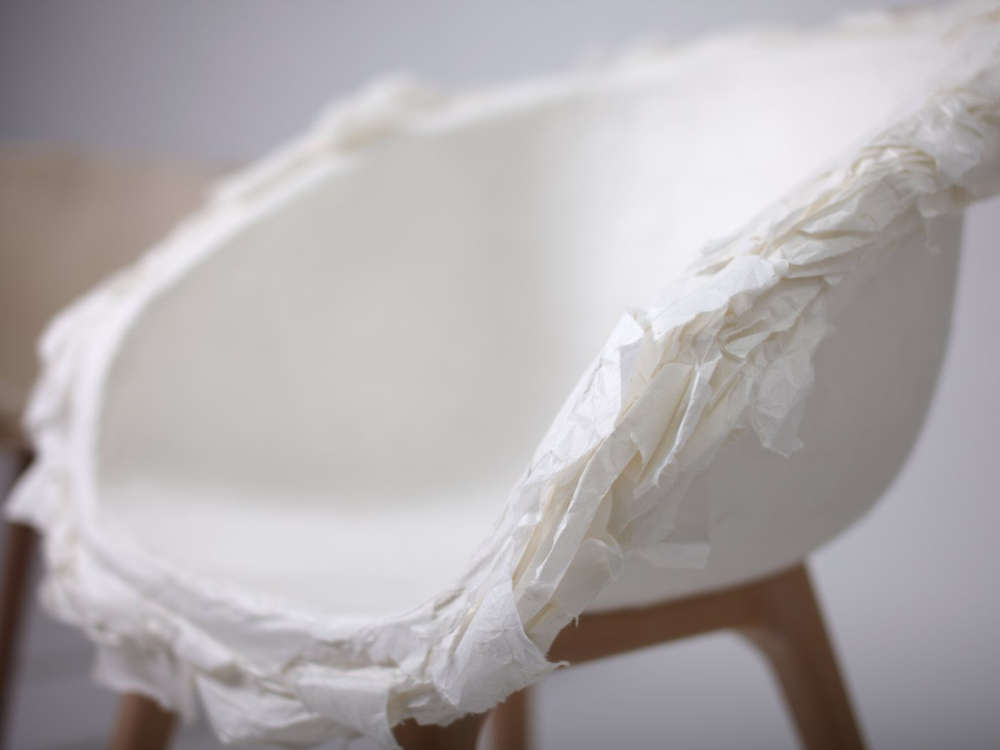 Chair with seat of handmade paper