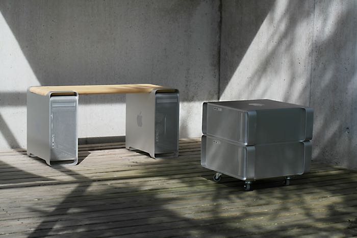 Recycled Power Mac G5 bench and file cabinet