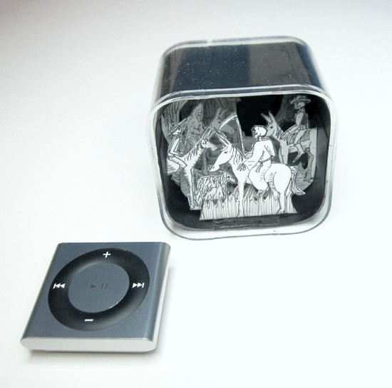 Small diorama inside an upcycled iPod Nano (6th Gen) box.