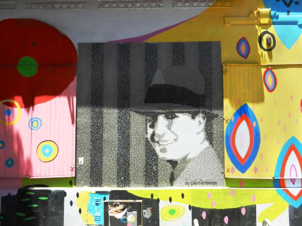 Tile mural of Carlos Gardel by artist Marino Santa Maria.