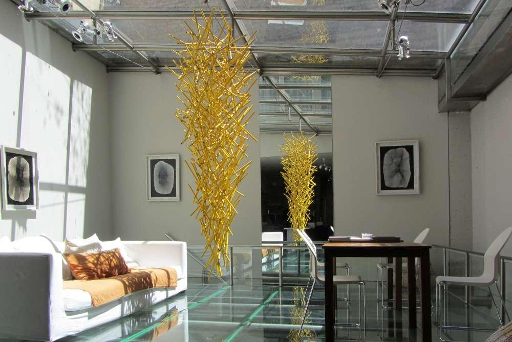 Hotel de Diseño lounge with glass floor.