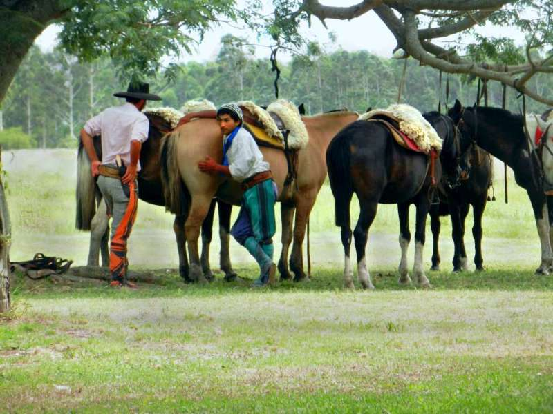 Gauchos getting horses ready at Estancia Don Joaquin
