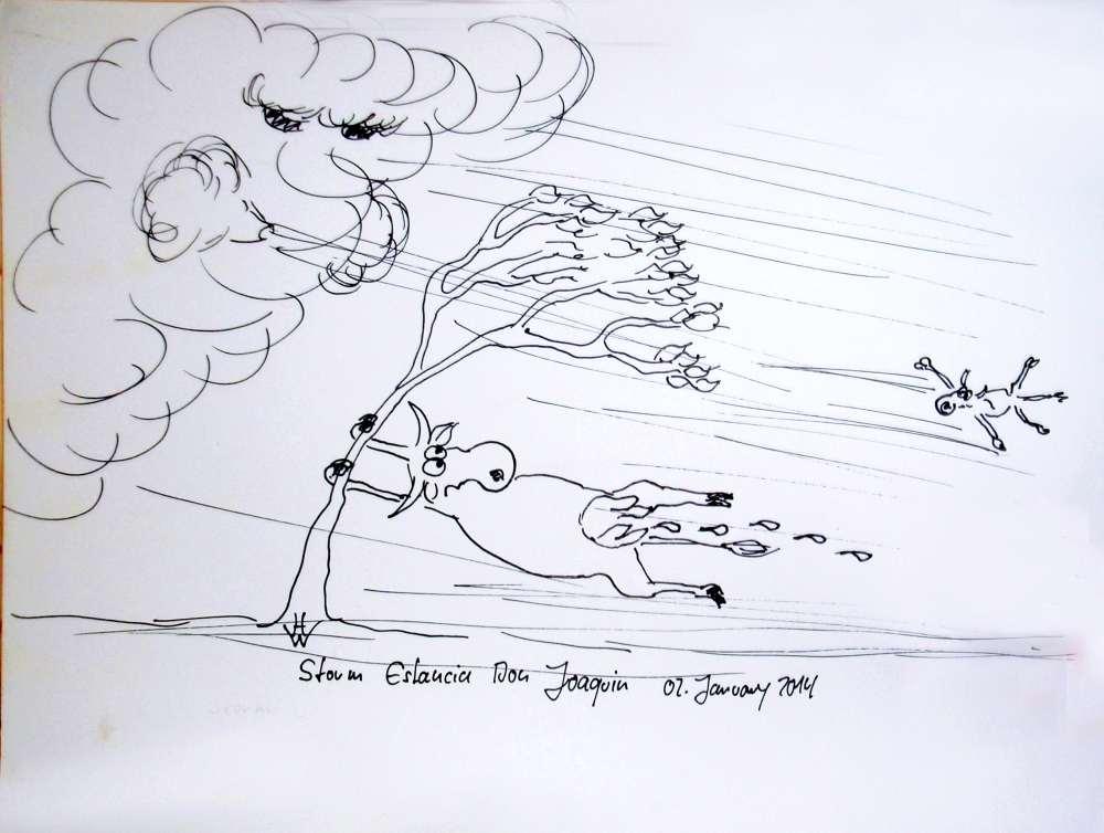 Comic sketch of a storm