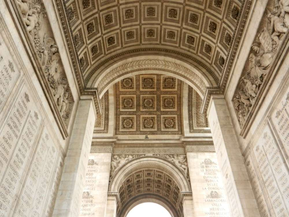 Carvings & inscriptions in the walls & arches of the Arch de Triomphe