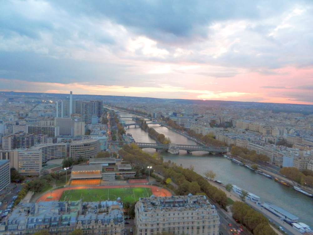 View of the River Seine as dusk settles in.