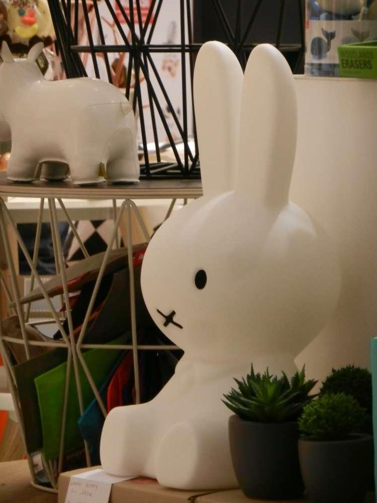 Miffy lamps in a Paris shop.