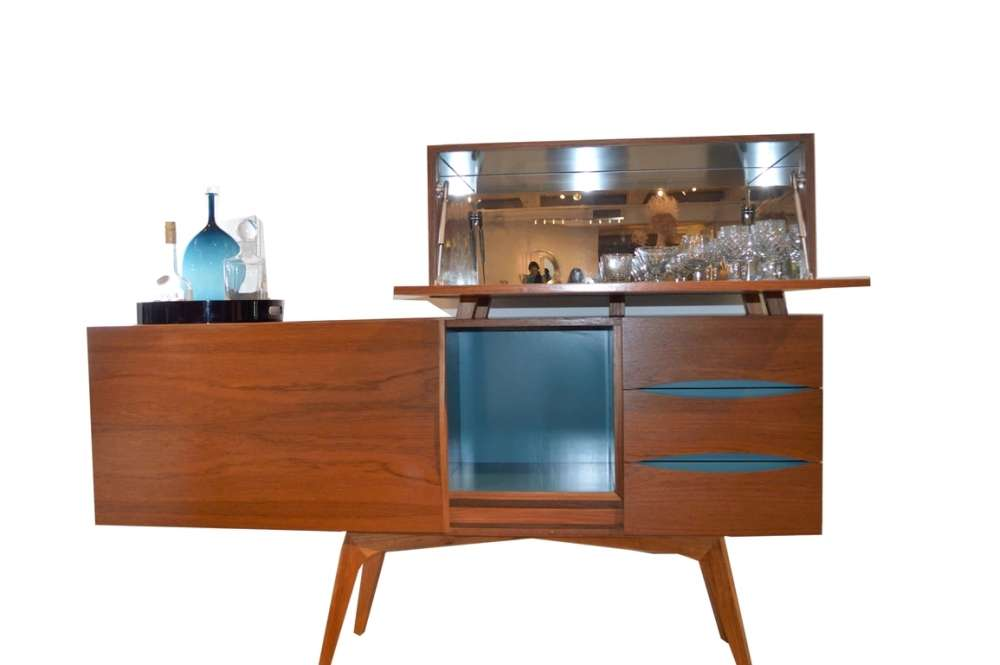 Mid-century inspired bar cabinet