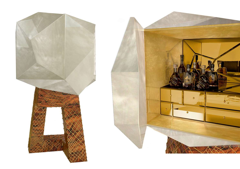 3D sculpted cocktail bar cabinet