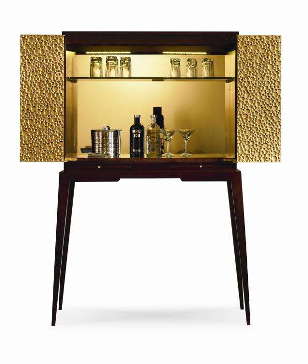 Lunar bar cabinet with bifold doors open
