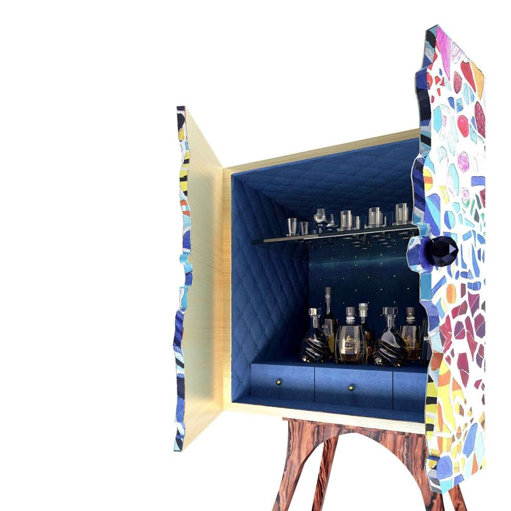 View of bar cabinet's interior finishes.
