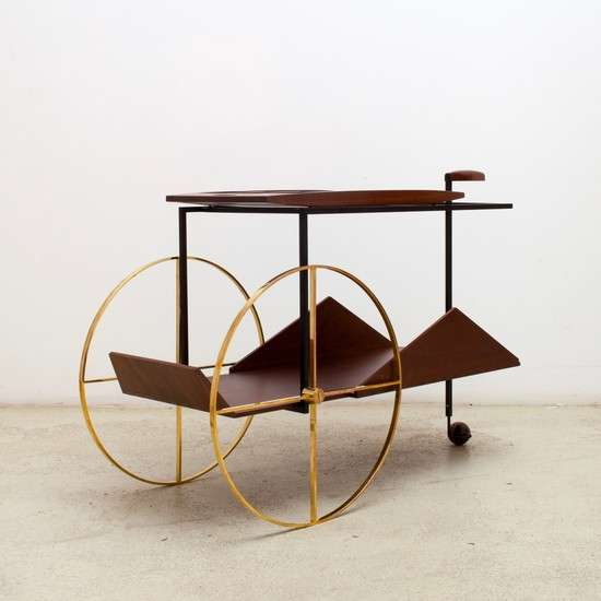 A mid-century drinks cart with geometric lines