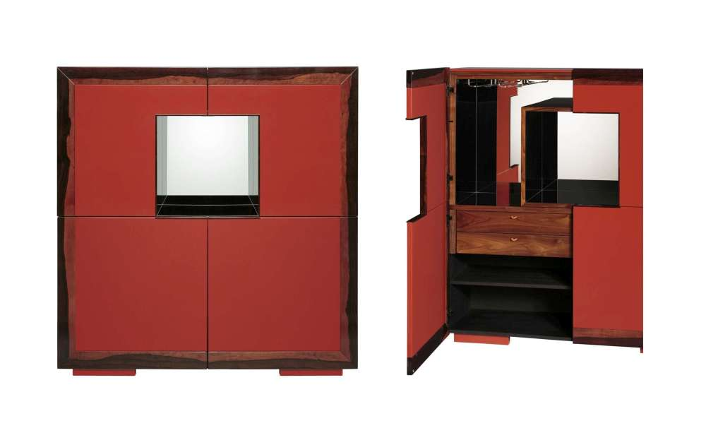 Italian hand crafted bar cabinet of ebony veneer and polyurethane lacquer