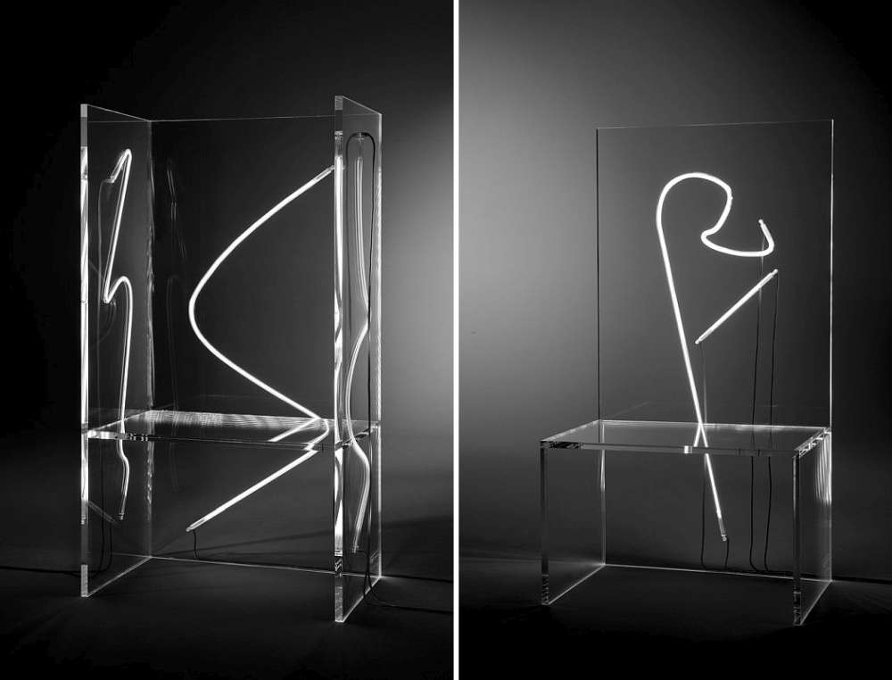 Acrylic chairs with neon tubes embedded inside