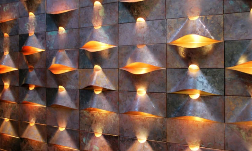 Stunning 3-D lighting as wall panels.