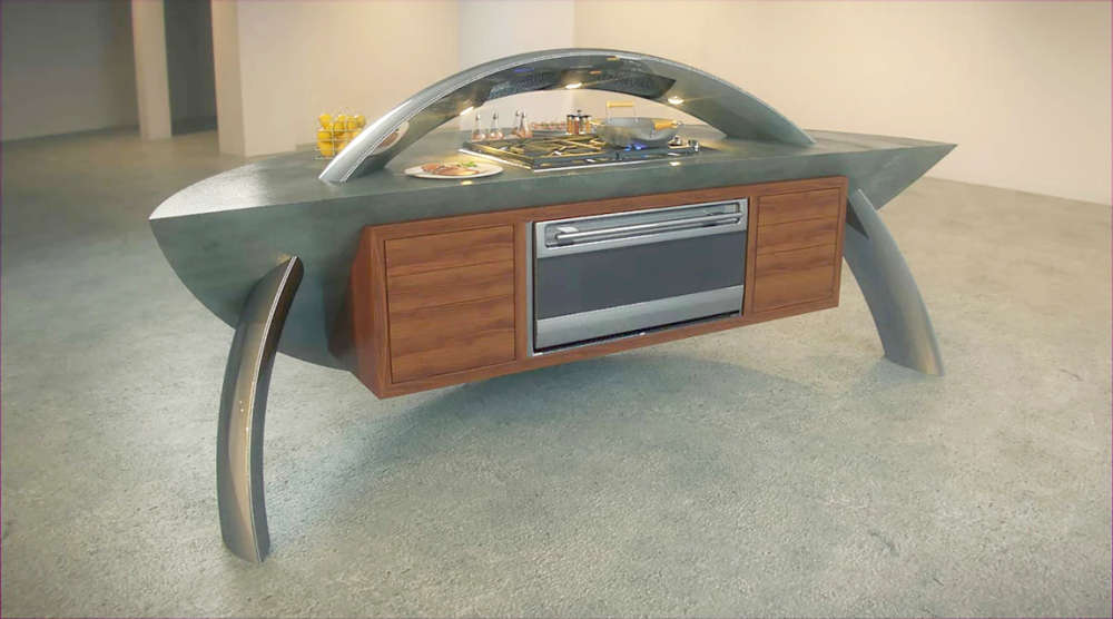 A sculptural kitchen island with curved stainless steel supports