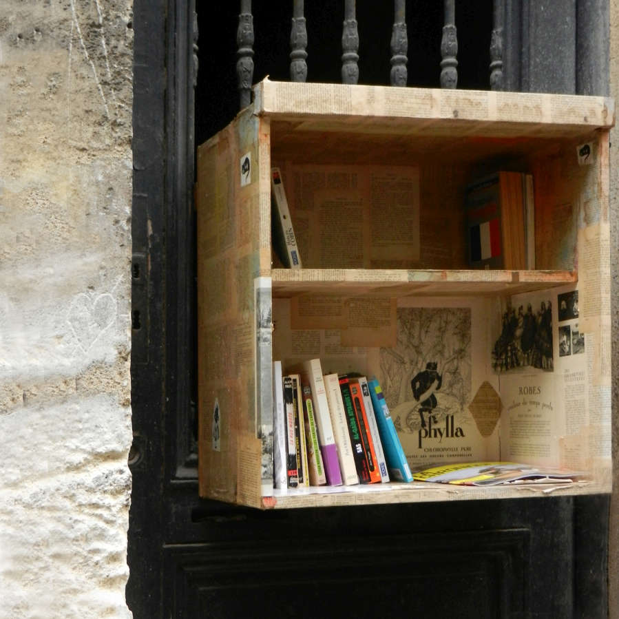 Whimsical book case set in a door.