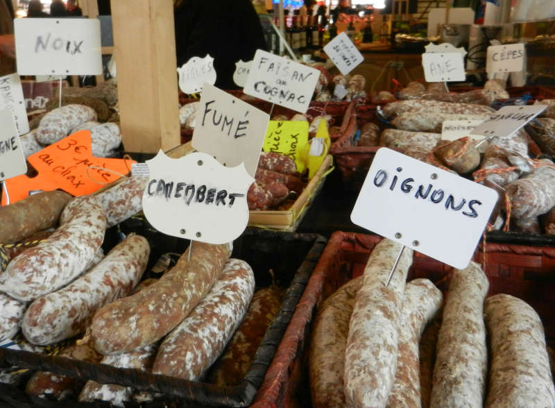 Assortment of sausages at Marché des Capucins.