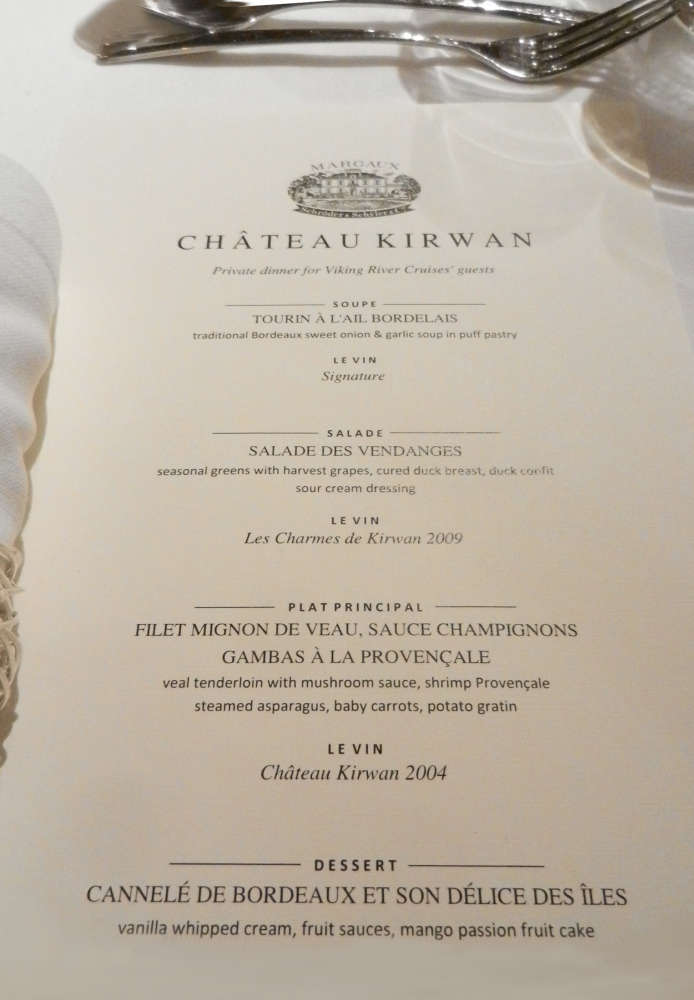 Dinner menu at Château Kirwan