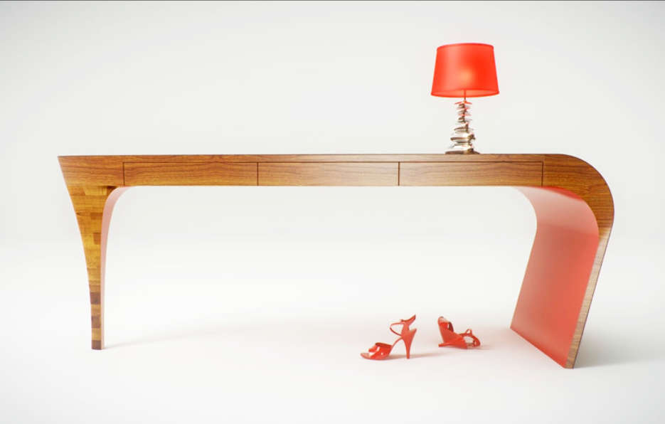 A console table that was inspired by high heels
