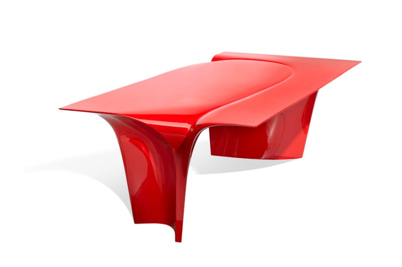 A red dining table