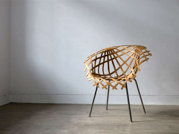 A chair made of bamboo strips