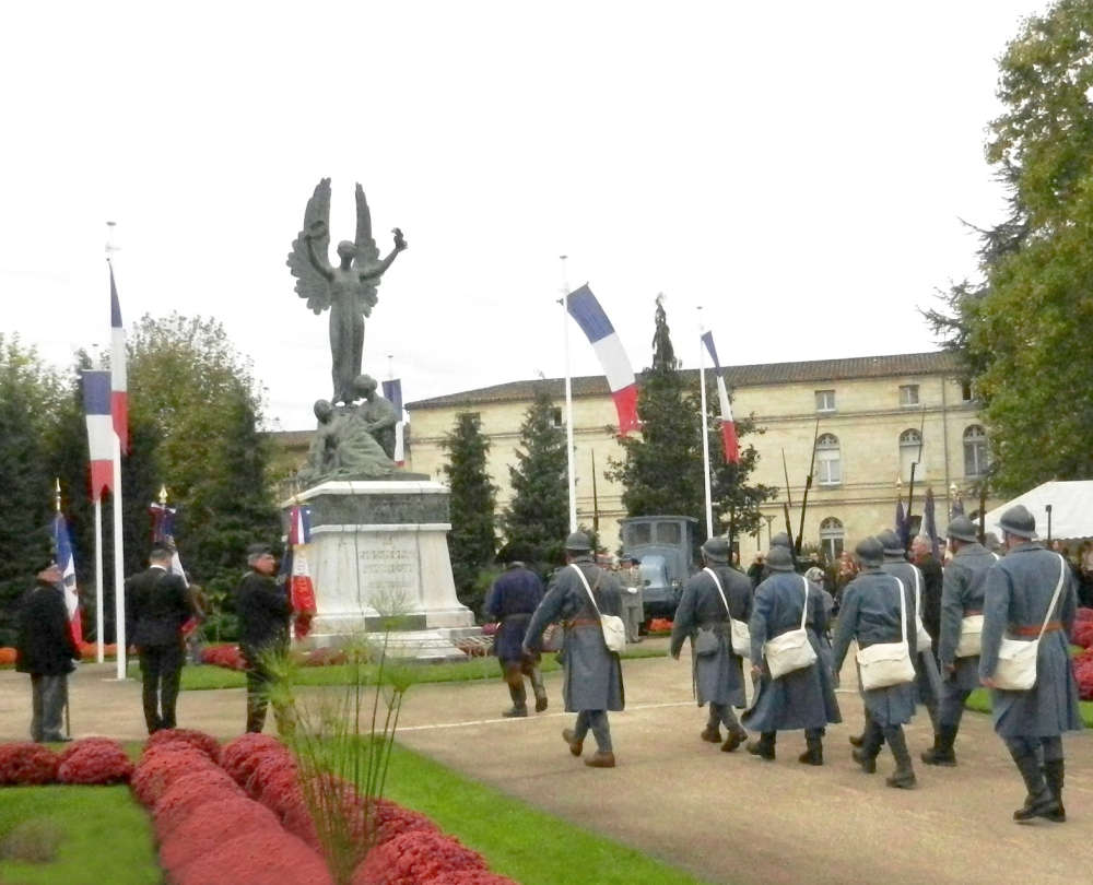 Armistice Day commemoration ceremony at Jardin du Poilu in Libourne