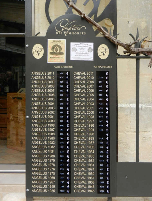 A Saint-Émilion wine shop listing its fine offerings at the door.