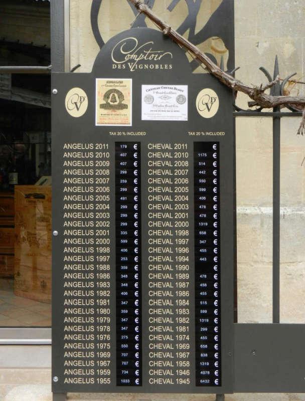 A Saint-Émilion wine shop listing its fine offerings at the door.