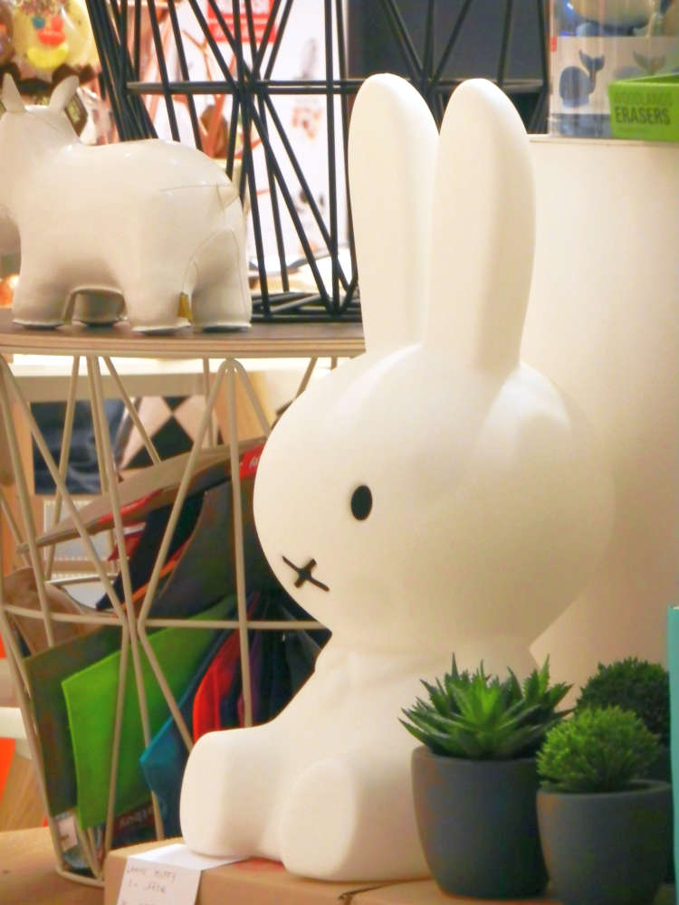 An iconic Miffy LED lamp in a home décor store.
