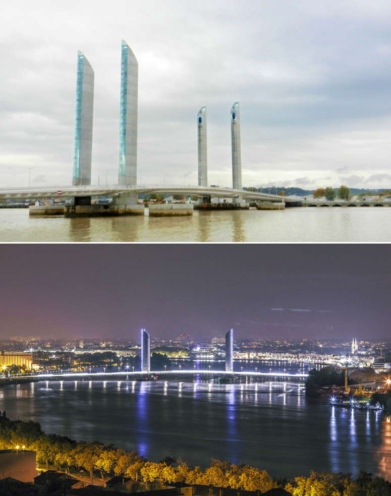 Views of the award winning Pont Jacques Chaban-Delmas. The beautiful night scene is by Geoffroy Groult.