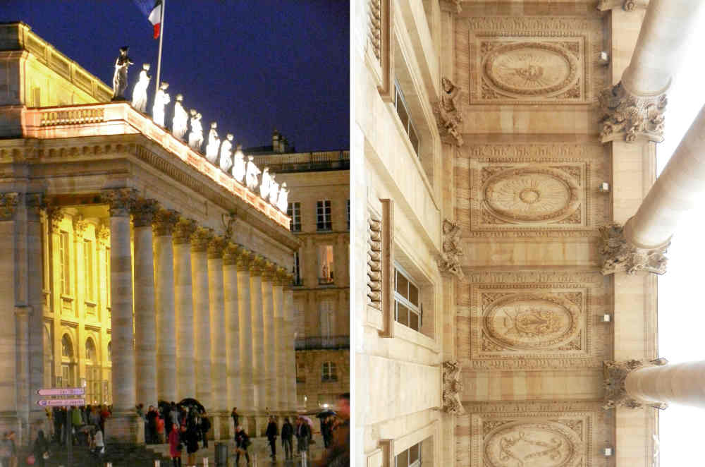 Night view and details of the portico of the Grand Théâtre.