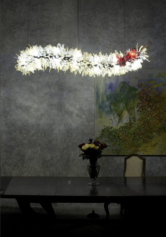 A glass chandelier in shape of a feather boa