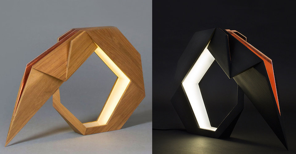The Oru table lamp in geometric design