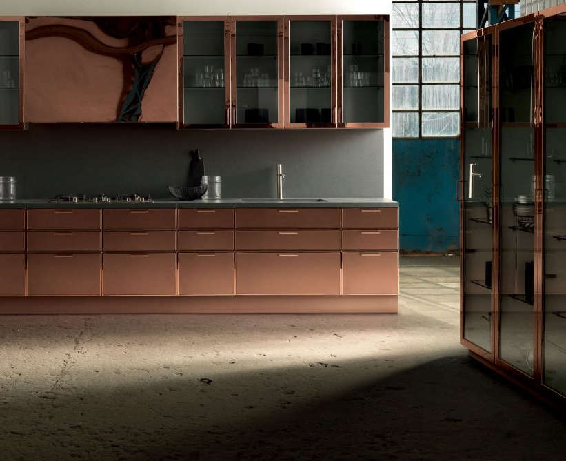 Same cabinets in polished and matte copper create a totally different look.