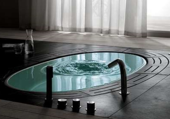 A sunken hot tub in minimalist design