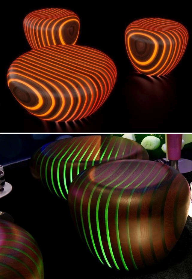 LED embedded wood seating