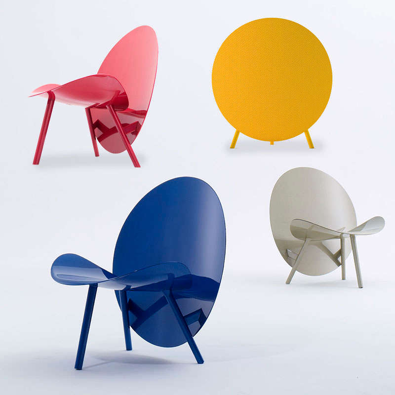 Colorful chairs made from car racing material